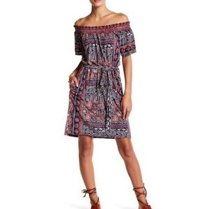 Lucky brand off the shoulder printed dress