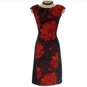14 Large XL▪️PLEATED NECKLINE FLORAL SHEATH Dress
