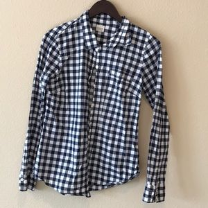 J. Crew The Perfect shirt Navy and white gingham