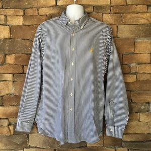 Ralph Lauren Men's Blue & White Button Down Shirt