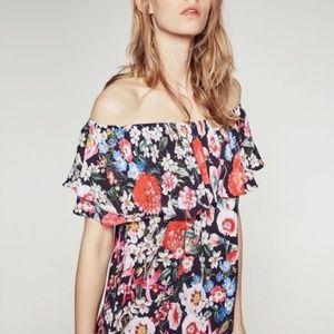 ZARA pretty in floral off the shoulder top