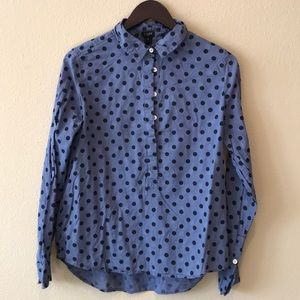 J. Crew polka dot half button up shirt