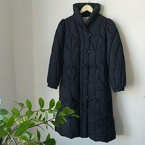Vintage 80s Black Down Puffer Winter Coat
