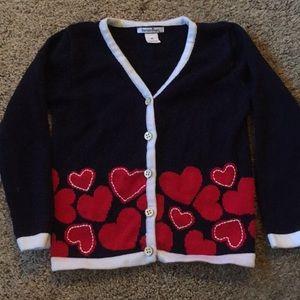 Hartstrings 4T navy valentine heart cardigan