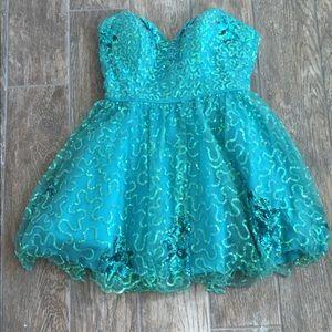 Blue Sherri Hill prom dress