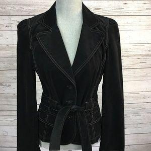 Ann Taylor Loft Black Corduroy Belted Blazer