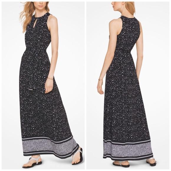 f640f40af7e NWT Michael Kors Black   White Floral Maxi Dress