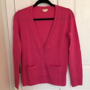 Hot pink J Crew 100% cashmere cardigan sweater