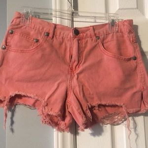 Free People Red Jean Shorts.