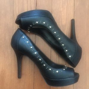 WORN ONCE Black embellished heels