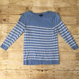 The Limited Striped Blue Jeweled Sweater