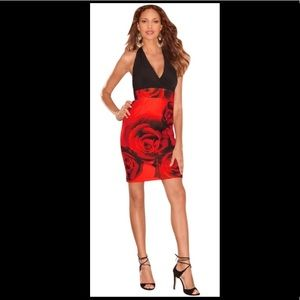 Black and red special occasion dress