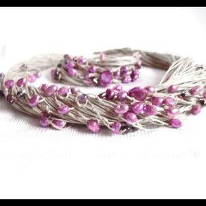 Jewelry - Pearl Linen Multistrand Necklace Bracelet Set