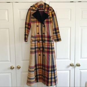 Vintage Long Wool Plaid Duster Floor Length Coat