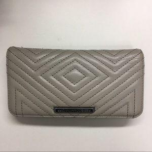 Rebecca Minkoff taupe geo stitched wallet