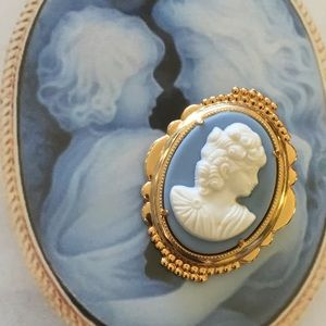 Jewelry - Blue Wedgewood Style Cameo Brooch