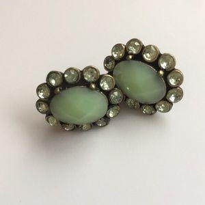 J. Crew • Green Stone Earrings