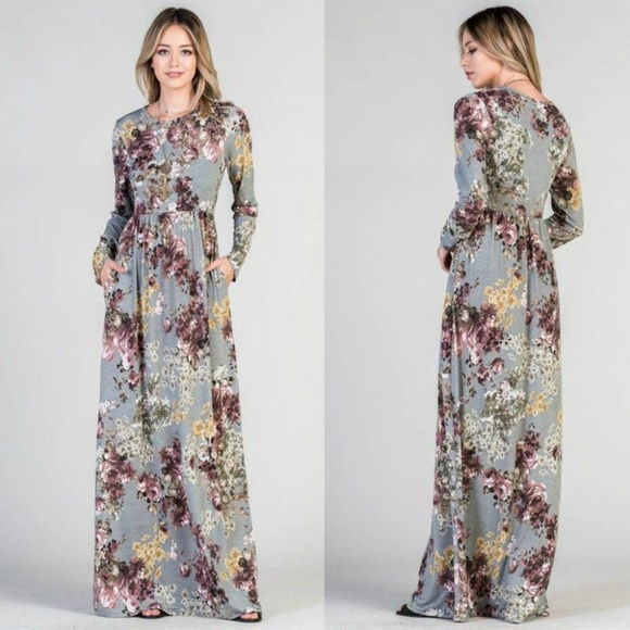39c7e3967b7a Pink Peplum Boutique Dresses | Long Sleeve Floral Maxi Dress With ...