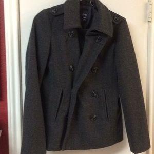 Gap charcoal gray wool blend peacoat-style jacket