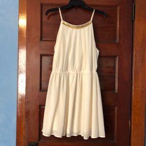 Forever 21 cream dress gold neckline accents