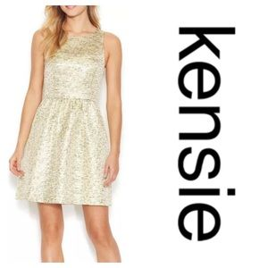 Kensie Gold Metallic Sleeveless Cutout Dress NWT S