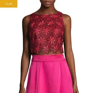 Zac by zac Posen floral red and pink crop top
