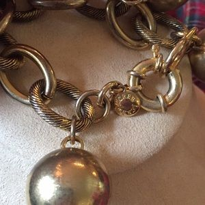 Brass ball bracelet j crew chunky heavy shiny