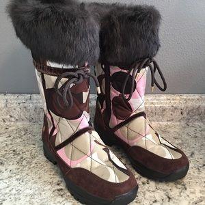 COACH fur snow boots