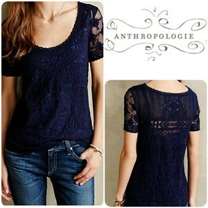 Anthropologie Meadow Rue Embroidered Mesh lace tee