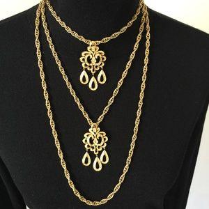 Demi Parure Trifari Triple Chain Necklace And Ring