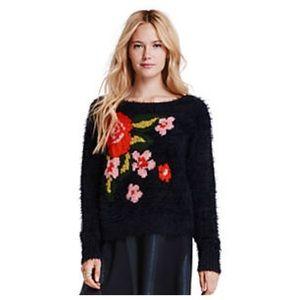 Jessica Simpson Eyelash Sweater Floral Knit Dsign
