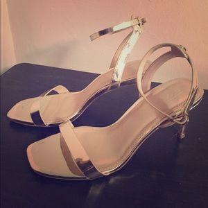 Gold ASOS open toe, ankle strap heels.