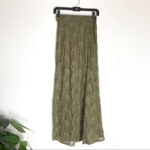 Olive Lace Maxi Skirt