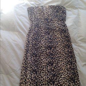Leopard strapless seamed pencil dress, knee length