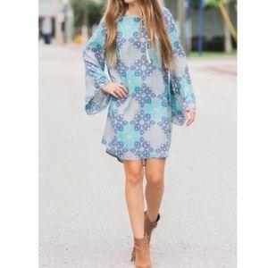 All for Color Mod Geometric Shift Dress Gray Blue