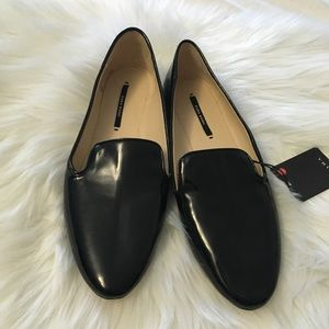 New Zara black patent leather loafers