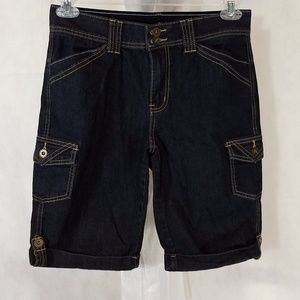 Cato Denim Jean Shorts Women Size 8 Black Stretch