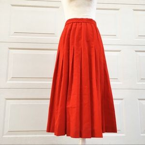 Vintage Red Pleated Full A Line Swing Skirt