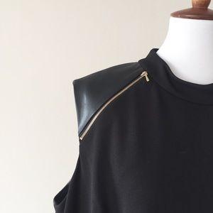 Ivanka Trump Black Shift Dress Faux Leather Detail