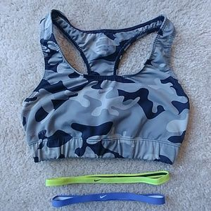 Nike sports bra and 2 nike headbands