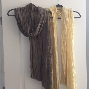 Yellow and Brownish Grey Scarves