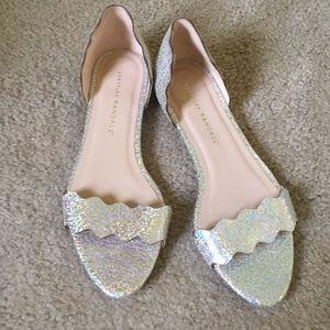Loeffler Randall Silver Flat Scallop Sandals 6