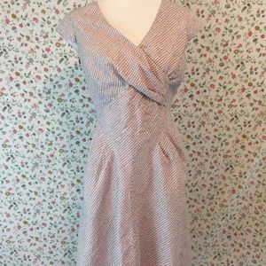 Pendleton Sleeveless Dress Faux Wrap Pink Grey