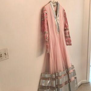 Brand new designer pink chooridhar set