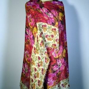 Italca Floral Linen and Modal Scarf/Wrap NWT