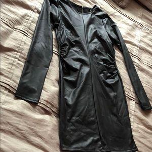Leather like long sleeve dress