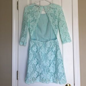 Lace mint backless boutique dress with pockets