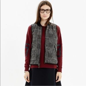 Madewell Reversible Black / Plaid Puffer Vest