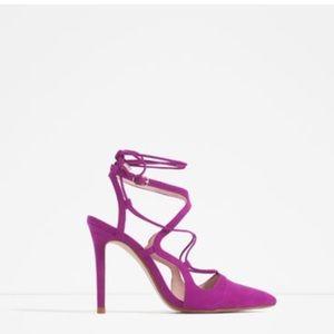Zara high heel lace up pumps