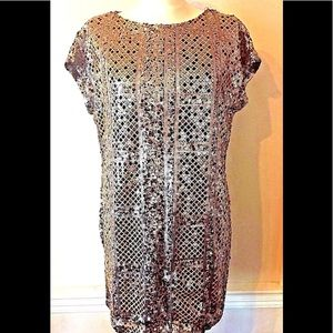 River Island Sequin Dress Gold US 10